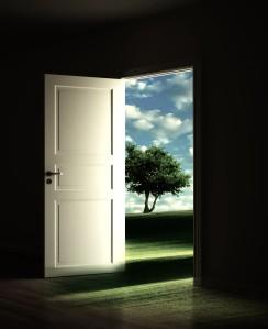 3d rendering of a dark room with an open door